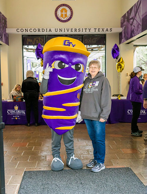 CTX Vortex mascot with Concordia Crossing guest