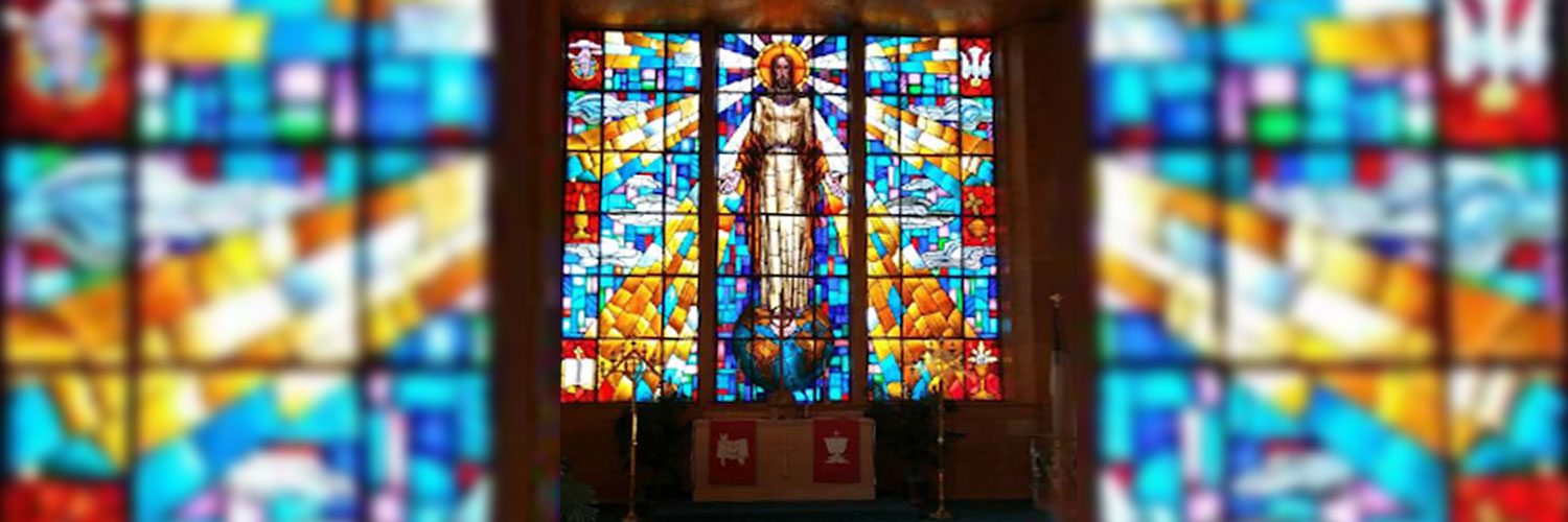 Chapel stainglass of Christ