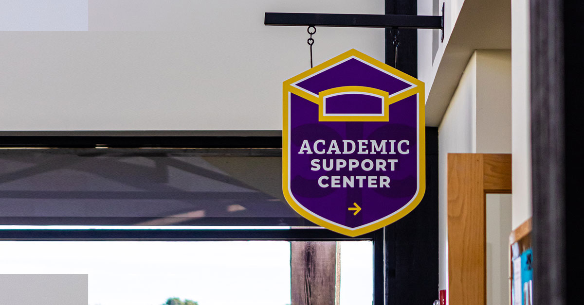 Academic Support Center sign on CTX campus